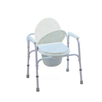 Steel-Frame-Foldable-Commode-Seat-with-Four-Castors