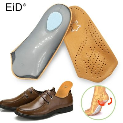 eid-3-4-length-leather-insole-flat-foot-orthotic-insoles-arch-support-25cm-half-shoe-pad-orthopedic-insoles-foot-care